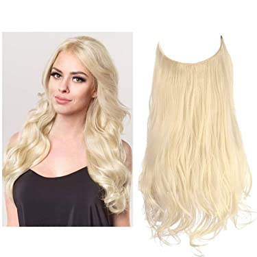 SARLA Halo Hair Extension Beach Blonde Curly Short Synthetic Hairpiece 14 Inch 3.7 Oz Hidden Wire Headband for Women Heat Resistant Fiber No Clip(M04&613#)