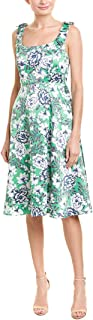 Women's Square Neck Bow Strap Floral Midi Dress