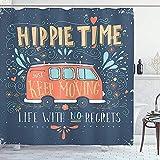 abby-shop Hippie-Duschvorhang, Hippie-Motivationswörter mit Blumenpunkten & tropfenförmigem Ornament-Druck, Schieferblau