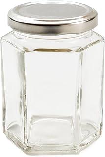 Nutley's 190ml Hexagonal Glass Jam Jars, Silver Lids (Pack of 6)