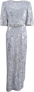 Women's 3/4 Sleeve Metallic Sequin Embroidered Gown