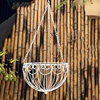 GXZZフラワースタンド鍛造鉄、フラワーバスケットフラワーポットバルコニー屋外ハンギングバスケットハンギングフラワースタ(サイズ:26x26x63cm)
