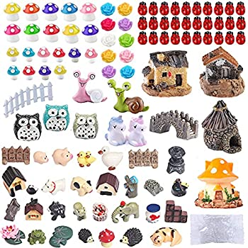 104 PCS Miniature Fairy Garden Accessories Including Fairy Garden Animals Mini Garden Houses and DIY Fairy Garden Dollhouse Decoration,Miniature Figurines Micro Landscape Ornaments Garden DIY Kit