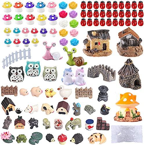104 PCS Miniature Fairy Garden Accessories, Including Fairy Garden Animals, Mini Garden Houses and...