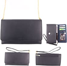 Conze Genuine Leather Purse/Wallet Phone case with Cross Body Strap fits verykool s3504 Mystic II / s4007 Leo IV in Black
