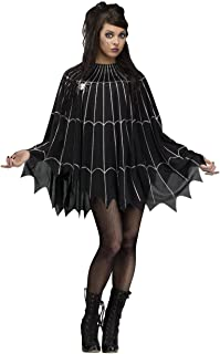 Spider Web Poncho Dress Costume Womens Black Silver Glitter Sexy Goth Fancy