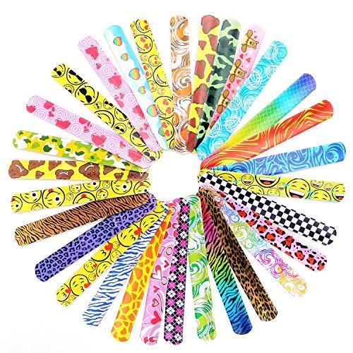 TsunNee 90 bandas de palmadita, pulseras de palmada, divertidas bandas de muñeca con corazones coloridos con motivos de emoticonos de animales, regalo de fiesta para niños y niñas