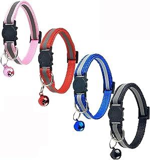 DAYONG 4 Pcs Breakaway Cat Collar Reflective Nylon Strip Bell, Safe Durable