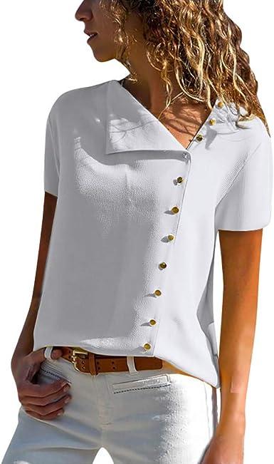 Camisas Mujer Casual, Camiseta de Cuello Alto de Solapa Casual para Mujer Camisetas de Manga Larga de Blusa de Hebilla para niña Camisas De Vestir