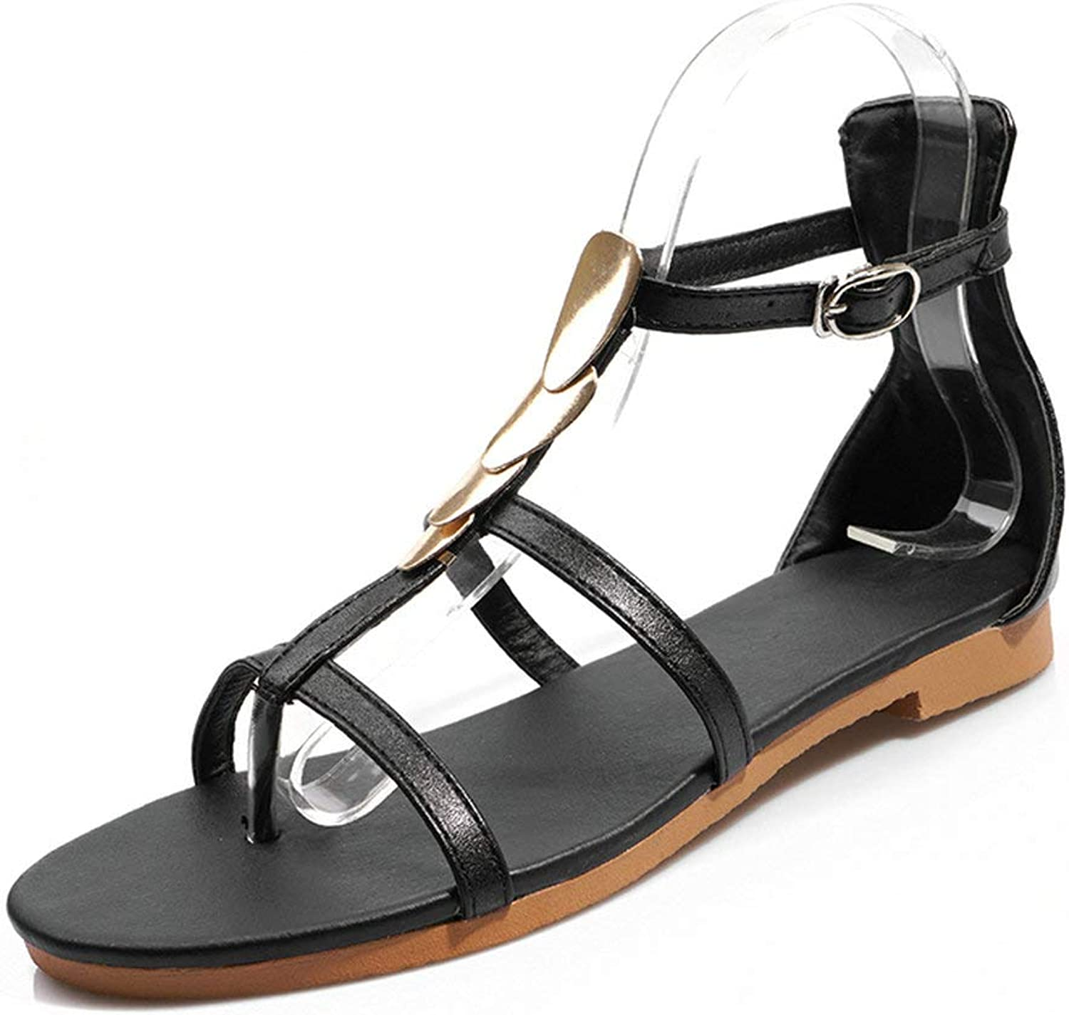 AnMengXinLing Flats Sandals Women T-Strap Flip Flops Summer Beach Thong Sandals Casual Ankle Strap Low Heel Metal Gladiator Daily shoes Silver Black