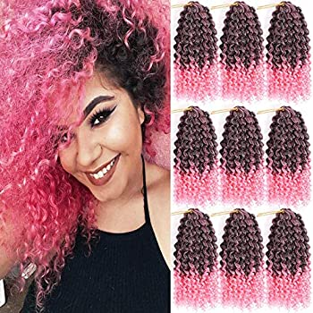 Pack of 9 Marlybob Crochet Braids Hair Ombre Afro Kinky Curly Braiding Hair Extensions 8Inch Small Synthetic Braiding Hair for Women  1B/Pink#