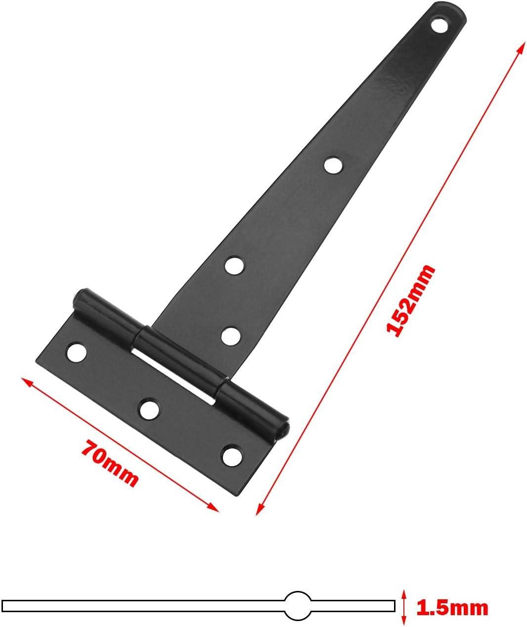 SING F LTD 6Pcs T-Strap Tee Shed Hinge Set 6 Inch Heavy Duty Gate Door Barn Wrought Hardware Rustproof Black