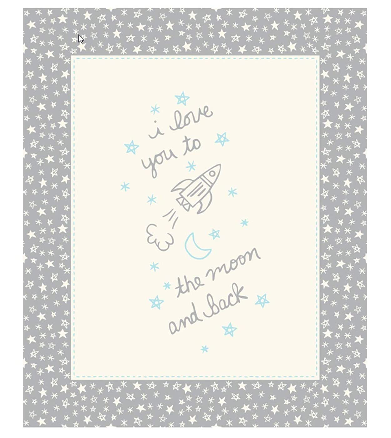 Soft Sweet Grey Flannel I Love You to The Moon and Back Panel by Stacy Iest HSU for Moda Fabrics