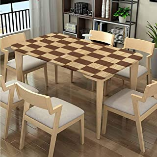 LQQBSTORAGE Elastic Edge Oblong Tablecloths, Checkerboard Wooden Pattern Printing, Elastic on The Corner Rectangular Tablecloth Fits Rectangular Tables:48
