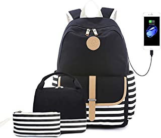 Lmeison Charging Backpack with Lunch Bag Pencil Case, Waterproof Striped Bookbag for Women Teen Girls, Canvas Backpack Set...