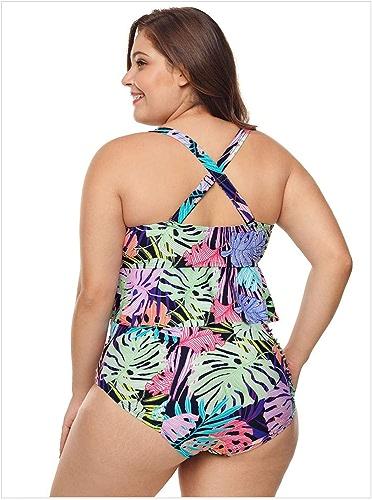 WARM home Créatif Maillot de Bain Deux-pièces Grande Taille pour Femmes, imprimé Taille Basse à Volants, Bikini Sexy Deux pièces Taille Haute