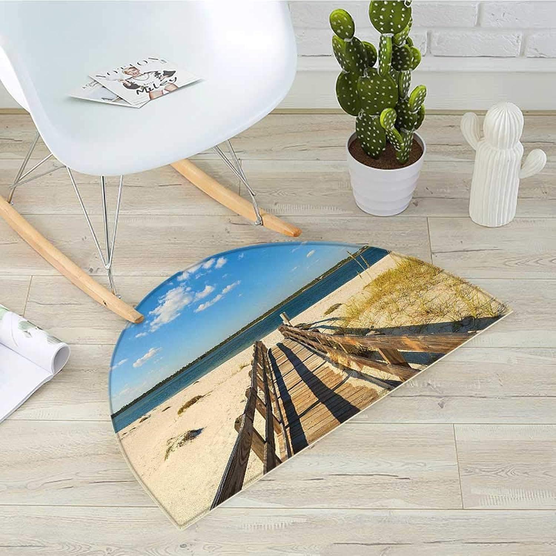 Beach Semicircle Doormat Perdido Beach and Long Pier Deck Over Sand Gulf of Mexico South America Resort Theme Halfmoon doormats H 31.5  xD 47.2  Cream bluee