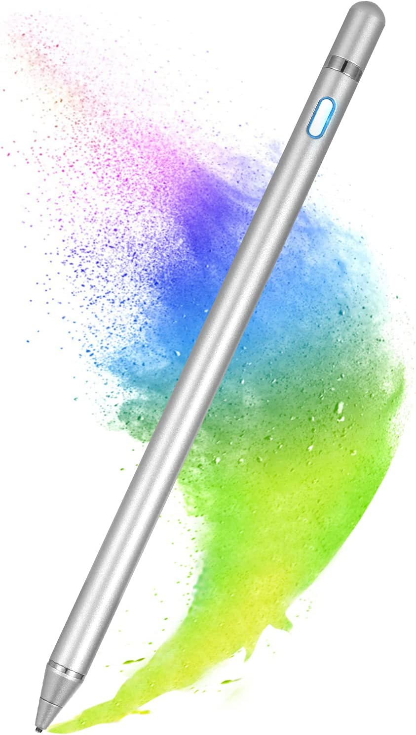 Stylus Pen for Touch Screens, Active Pen Digital Pencil Fine Point Compatible with iPhone iPad and Other Tablets (Silver)