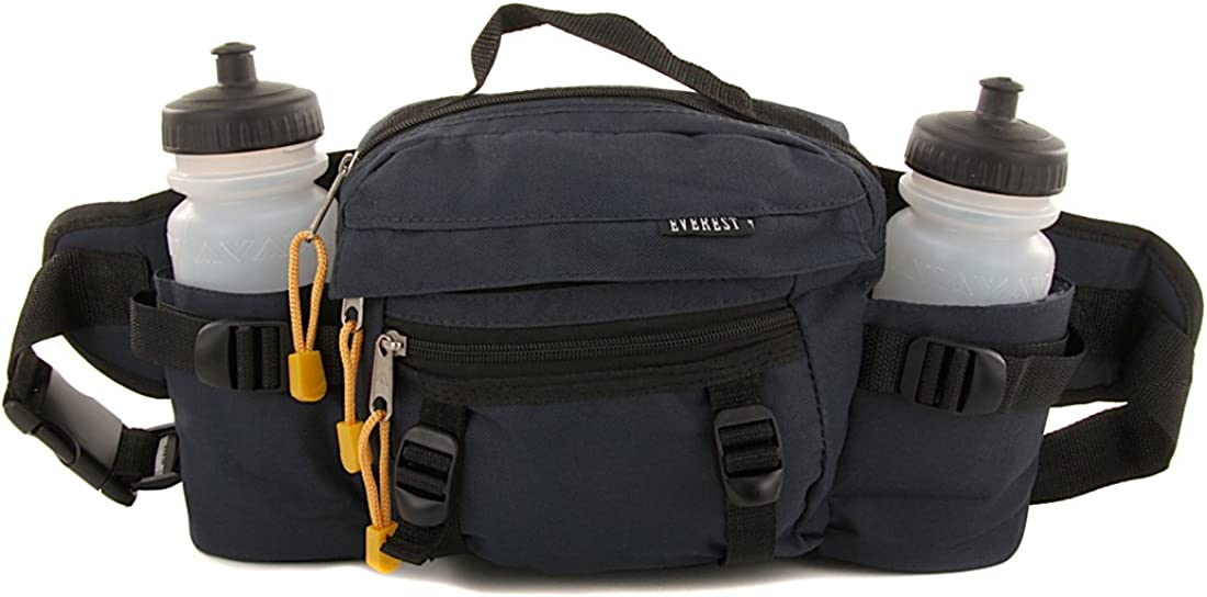 Everest Hiking Sports Dual Bottle Fanny Waist Lumbar Pack Bag 2 Squeeze Bottles Included