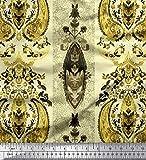 Soimoi Gelb Seide Stoff Streifen & Paisley ethnisch
