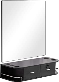 Barberpub Locking Wall Mount Styling Barber Station with Mirror Beauty Spa Salon Furniture,6154-5012-mirror (Black)