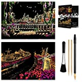 Scratch & Engraving Arts Paper(16' x 11.2') for Kids & Adults, Rainbow Sketch Painting Landscape Scratchboard, Craft Kits: 2 Pack with 4 Tools - Drawing Pens, Brush(Venice/Netherlands)