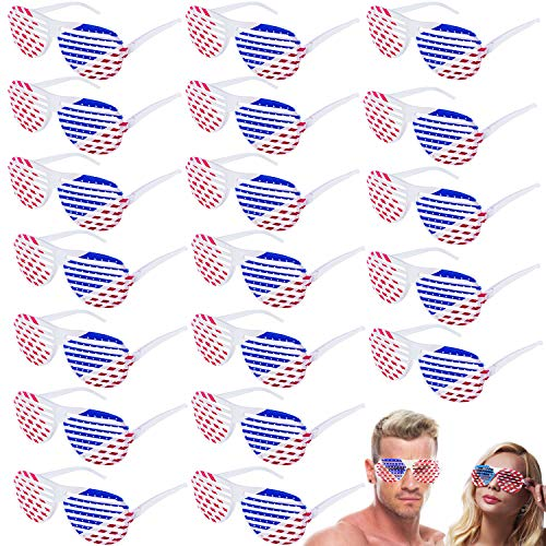 4th July Decorations for Party, 20 Pcs American Flag Shutter Shades Glasses, Patriotic Party Favors Supplies Memorial Day Independence Day Decorations Fourth July Accessories