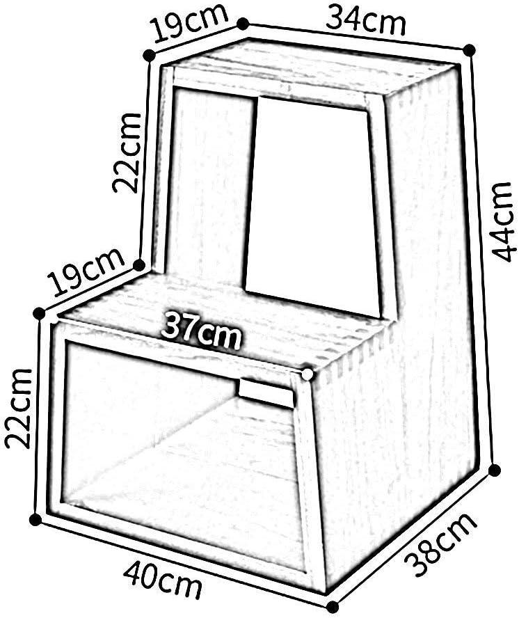 TYJIAJU Tabouret àéchelle en deux étapes multifonctions en bois massif, chaussures de maison, tabouret, chaise d'escalier, support àétagère à fleurs jgh/D A