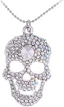 Alilang Silvery Tone Iridescent Crystal Rhinestone Halloween Skeleton Skull Head Pendant Necklace