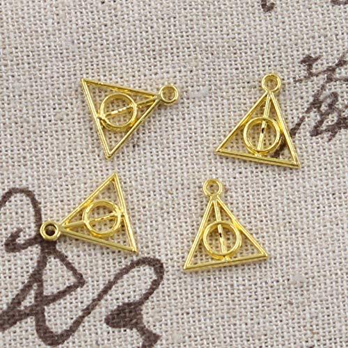 LLBBSS 100 Piezas Encantos Reliquias De La Muerte 13X12 Mm Colgante Antiguo En Forma De Bronce Vintage Color Plata DIY para Collar De Pulsera