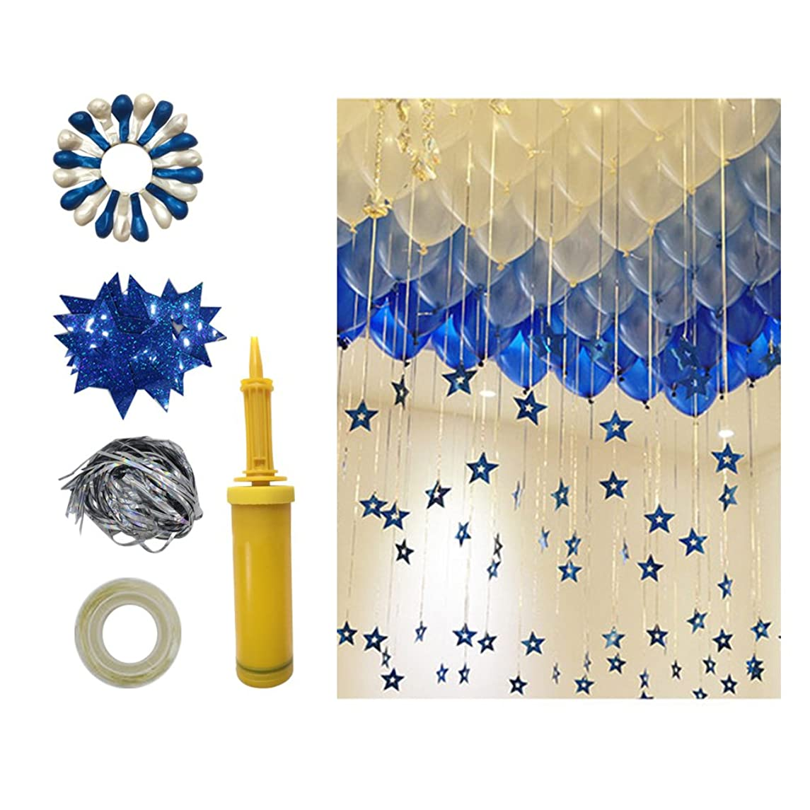 Wytogether Round Latex Balloons (50 Blue,50 White),12inches Premium Quality Thick Balloons, Radium Stars,Hand Held Air Pump.Balloon Tassel.The Balloon Dispensing. Radium Stars Random Color.