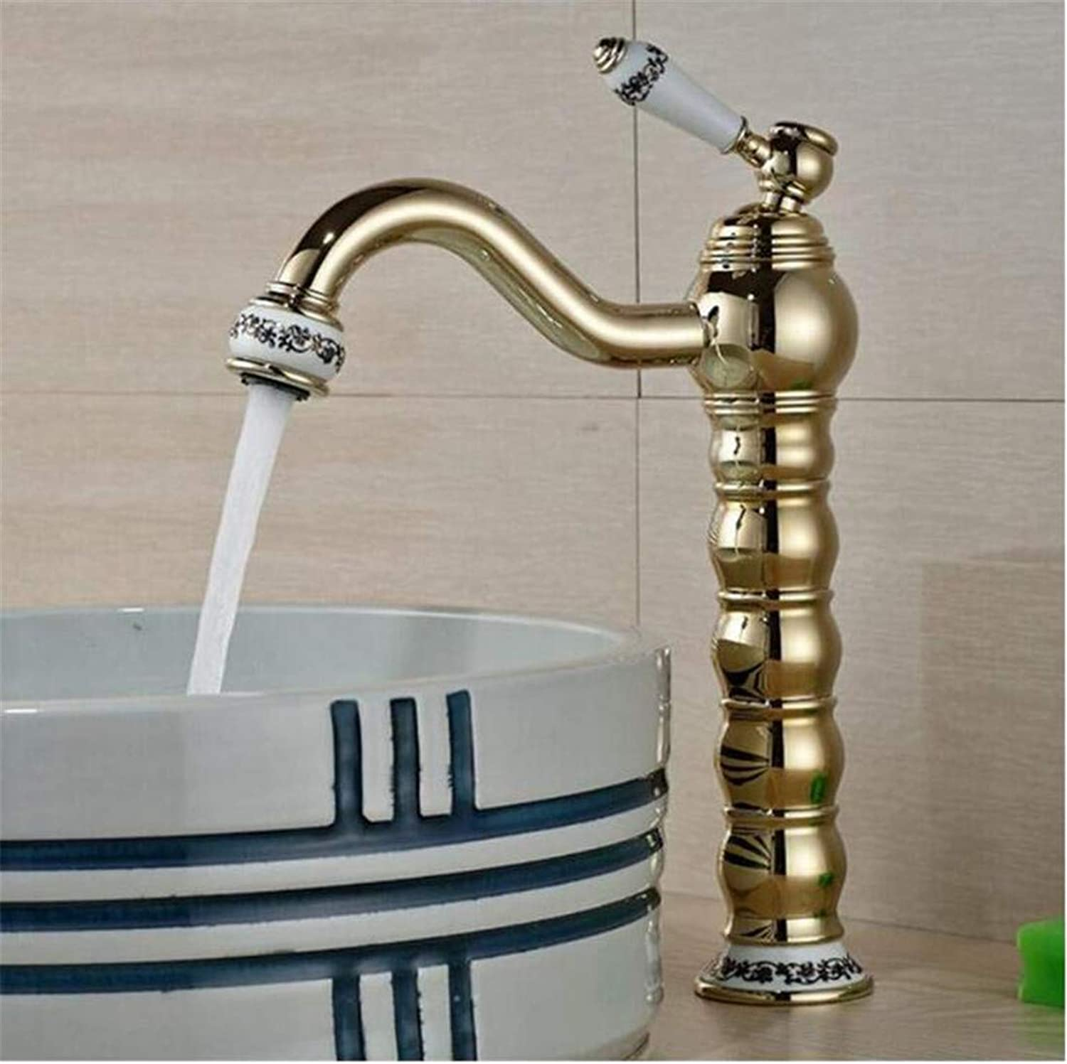 Faucet Kitchen Bathroom Stainless Steel Faucet Faucet Washbasin Mixer golden Brass Bathroom Basin Faucet Vanity Sink Mxier Tap Hot and Cold Water Ceramic