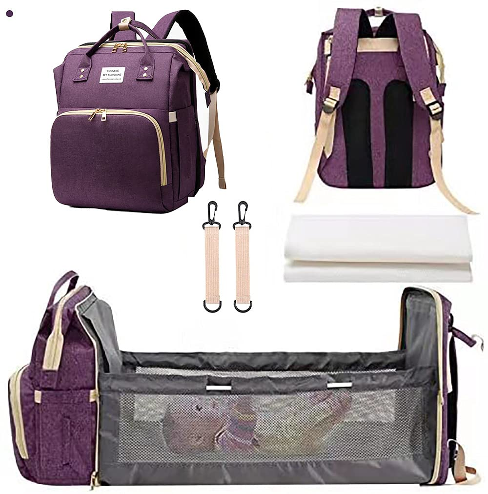 3 in1 Diaper Bag Backpack with auto Folding Crib, Portable Mummy Sleeping Bag (with Insulating Bag), Multifunctional Baby Cradle Diaper Backpack and Diaper Changing Station (Purple Upgrade)