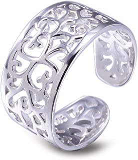 Anello argento per donna Anello da piede Regolabili anello di punta vintage Hollow Anelli per spiaggia regalo di san valen...