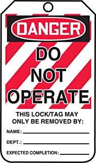 """Accuform MLT400CTP Lockout Tag,""""Danger DO NOT Operate"""", 5.75"""" x 3.25"""", (Pack of 25)"""