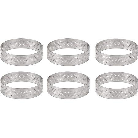RETYLY 円形ステンレス鋼多孔質タルトリング ボトムタワーパイケーキ型 ベーキングツール耐熱穴あきケーキムースリング、 8cm