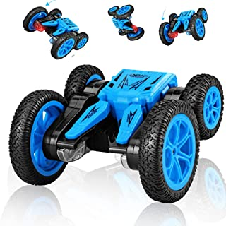SB Toys RC Stunt Car RC Car Remote Control Car, 360 Degree Flips Double Sided Rotating Race Car, Remote Controlled Car for Kids, 4WD Monster Truck Tumbling Crawler Vehicle, Best Gift for Kids Blue
