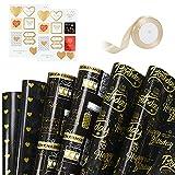 Papel de regalo cumpleaños, 6 hojas de papel de regalo dorado negro, 2 hojas de pegatinas, 1 rollo de cinta dorada para cumpleaños boda acción de gracias Navidad-Negro