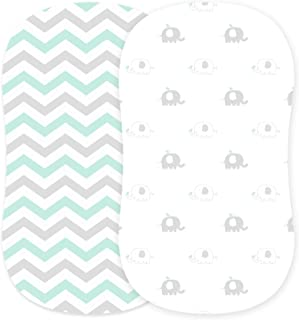 Bassinet Sheets Set 2 Pack for Boy & Girl by Cuddly Cubs   Soft & Breathable 100% Jersey Cotton   Fitted Elastic Design   ...