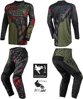 O`Neal Element Ride Black/Green Men motocross MX off-road dirt bike Jersey Pants combo riding gear set (Pants W28 / Jersey...