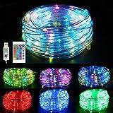 Vegena Guirnalda luces LED USB 10 m 100 LED RGB Resistente al Agua, 16 Colores 4...