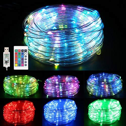 Vegena Bunt LED Lichtschlauch Außen, 10M 100er LED Schlauch RGB Wasserdicht lichterkette 16 Farben,4 Modi mit USB&Fernbedienung für Party,Balkon,Garten,Thanksgiving,Weihnachten,Weihnachtsbaum