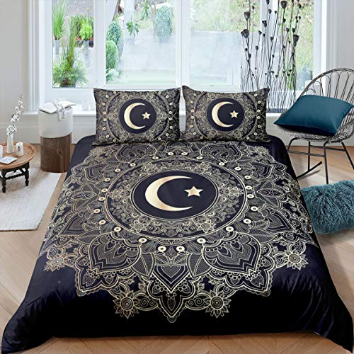 feelyou Bohemian Mandala Duvet Cover Set Twin, Golden Boho Chic Soft Microfiber Polyester Bedding Set for Kids Adults, Decorative Comforter Cover with 1 Pillow Shams Zipper, Floral Printed 2pcs