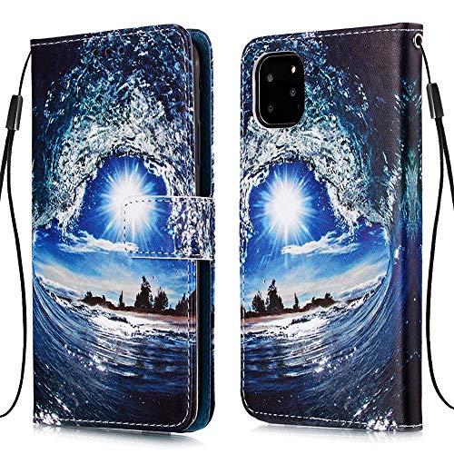 """Nadoli Leder Hülle für iPhone 12 6.1"""",Bunt Welle Sonne Malerei Ultra Dünne Magnetverschluss Standfunktion Handyhülle Tasche Brieftasche Etui Schutzhülle"""