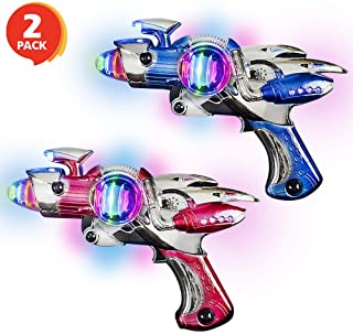 ArtCreativity Red and Blue Super Spinning Space Blaster Laser Gun Set with Flashing LEDs and Sound Effects - Pack of 2 - C...