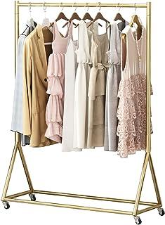 MissZZ Porte-vêtements Porte-vêtements Nordique Moderne sur Roues Porte-vêtements à roulettes Robuste Présentoir en Or pou...