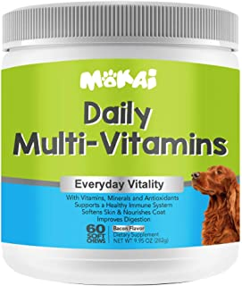 MOKAI Daily Multivitamins for Dogs of All Ages | Natural Dog Vitamins and Supplements for a Strong Immune System and Healt...