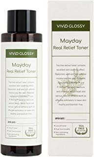 VIVIDGLOSSY MayDay Real Relief Toner, Hypoallergenic pH Balanced Face Toner with Tea Tree Leaf Water, Wrinkle Improvement,...