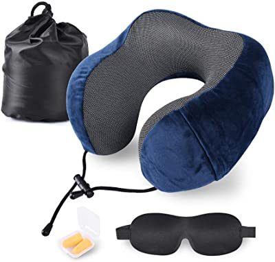 FJPTREN Travel Neck Pillows for Airplanes Memory Foam Neck Travel Pillow Support with Sleep Eye Mask Earplugs Portable Storage Bag Airplane FlightHome Office
