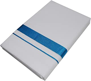 MCR Men's Pure Cotton Double Dhoti(128_White With Colour Border_4m)